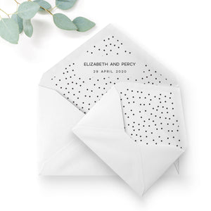 Carter Modern Monochrome Polka Dot Wedding Envelope Liners