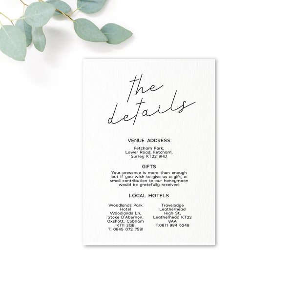 Carter Modern Monochrome Neutral The Details Wedding Information Card