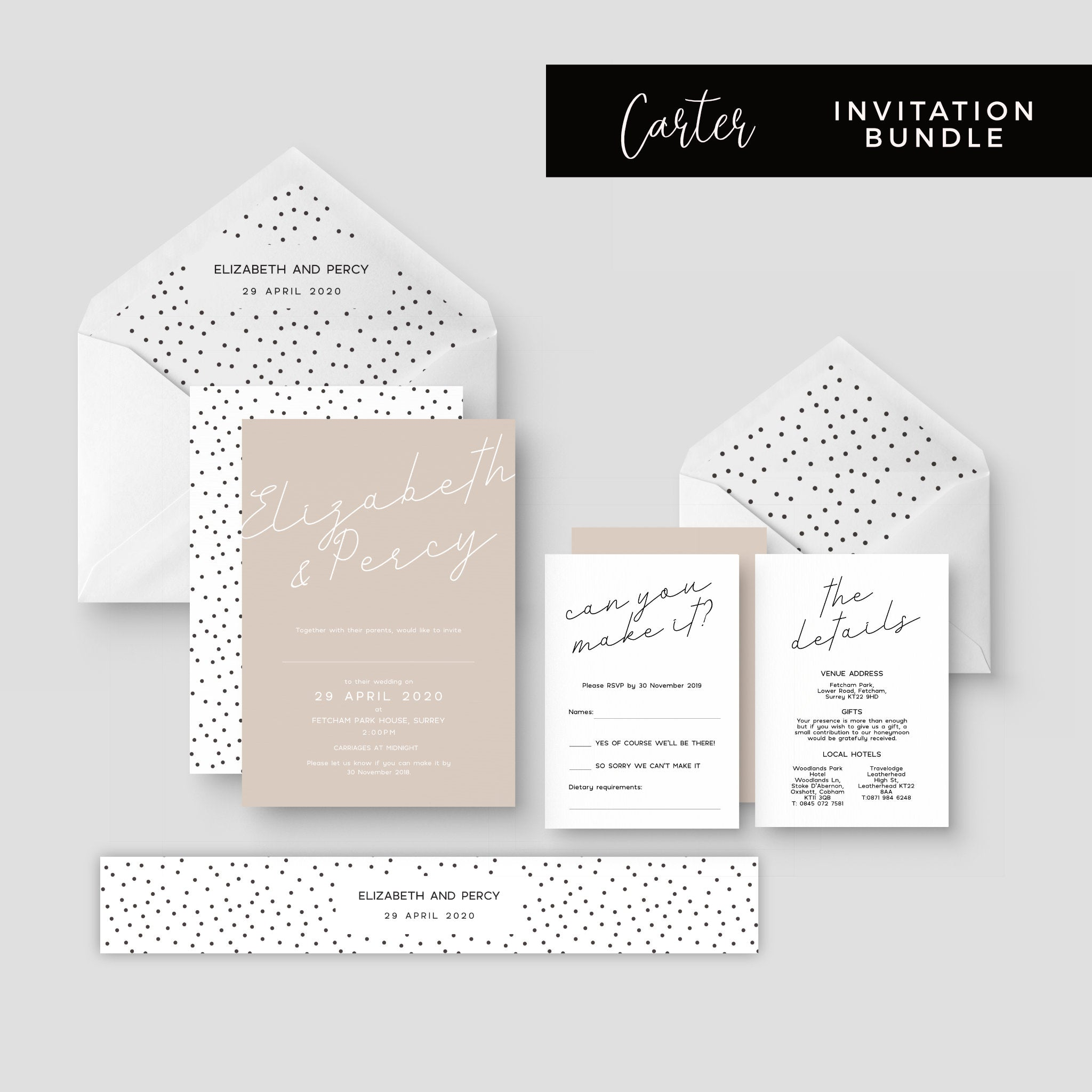 Carter Modern Nude Neutral Polka Dot Wedding Invitation Suite