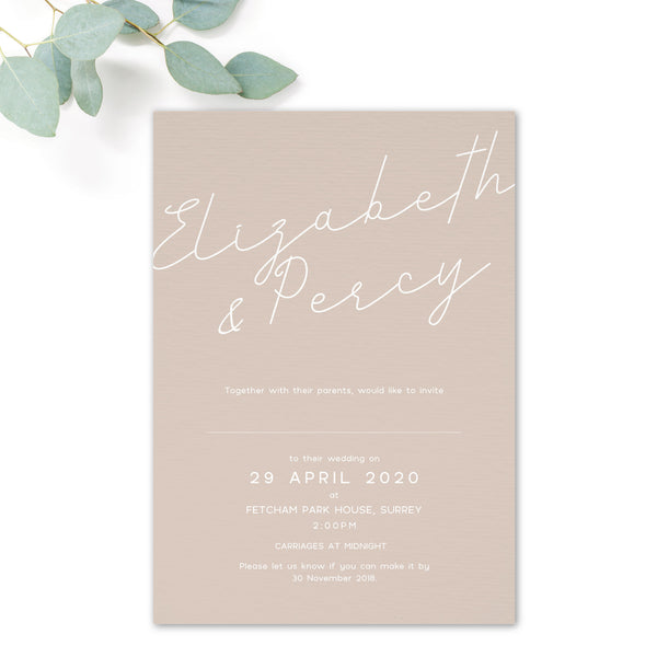 Carter Modern Nude Neutral Polka Dot Wedding Invitation