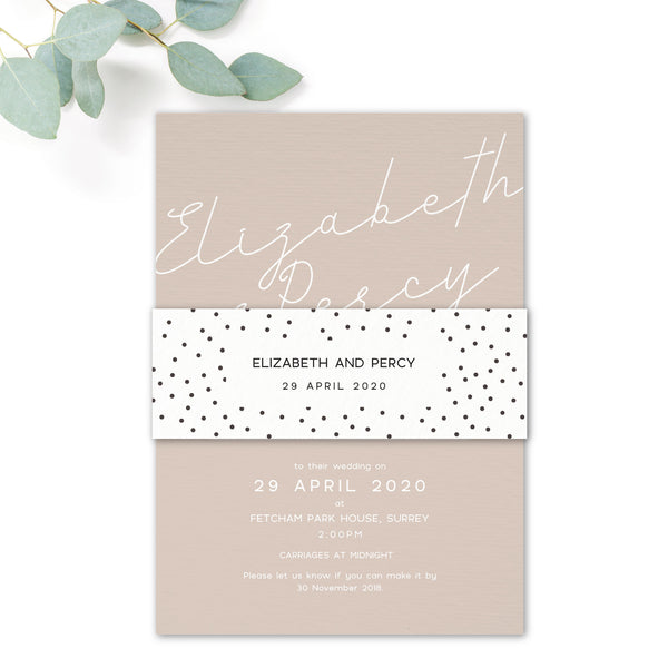 Carter Modern Nude Neutral Polka Dot Wedding Invitation with Belly Band