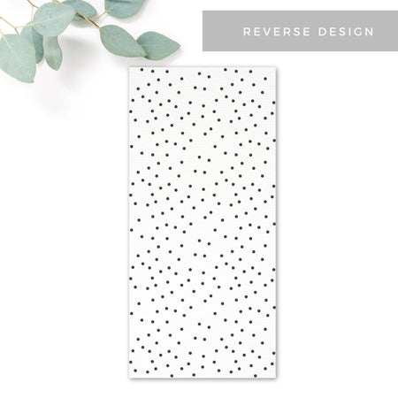 Carter Modern Nude Neutral Polka Dot Wedding Menu Card Reverse Design