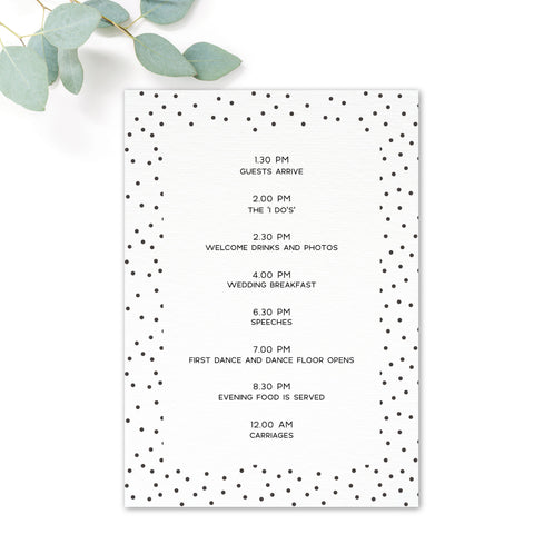 Carter Modern Nude Neutral Polka Dot Wedding Order of the day