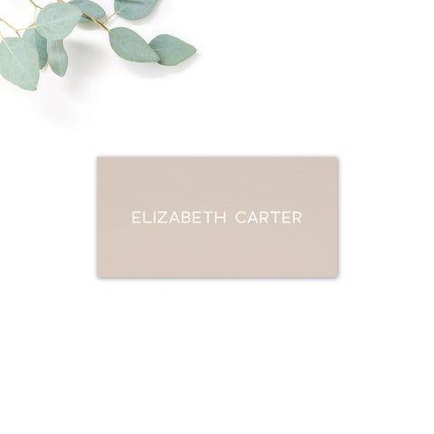 Carter Modern Nude Neutral Wedding Place Card Personalised with names
