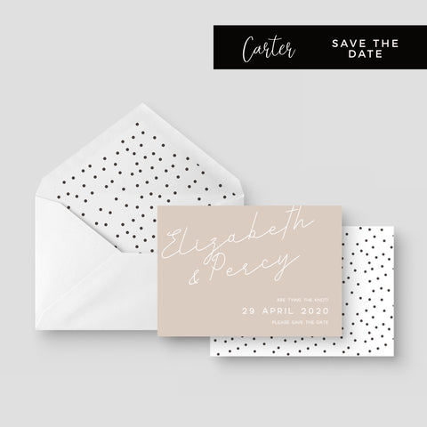 Carter Modern Nude Neutral Polka Dot Wedding Save the Date Card with envelope liner