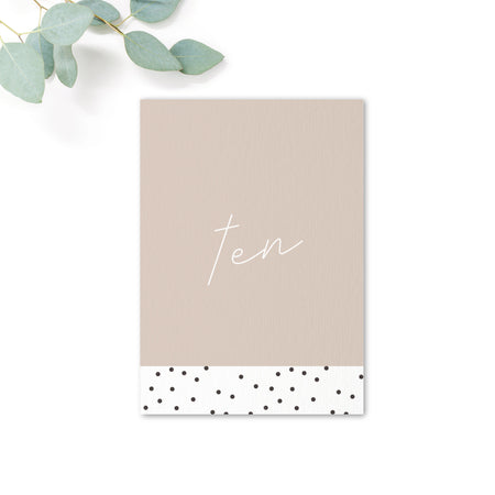 Carter Modern Nude Neutral Polka Dot Wedding Table Number