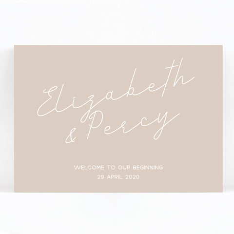 Carter Modern Nude Neutral Welcome to our wedding sign