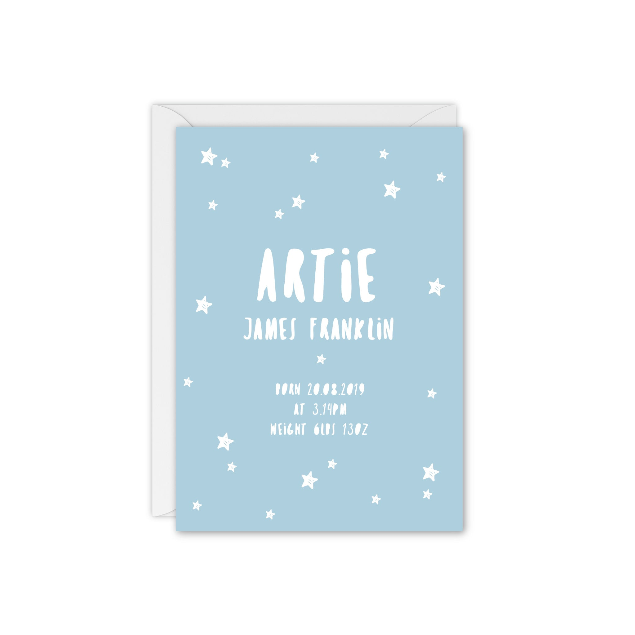 Doodle Star Baby Announcement / Thank You Card - Blue and White
