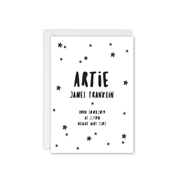 Doodle Star Baby Announcement / Thank You Card - Black and White