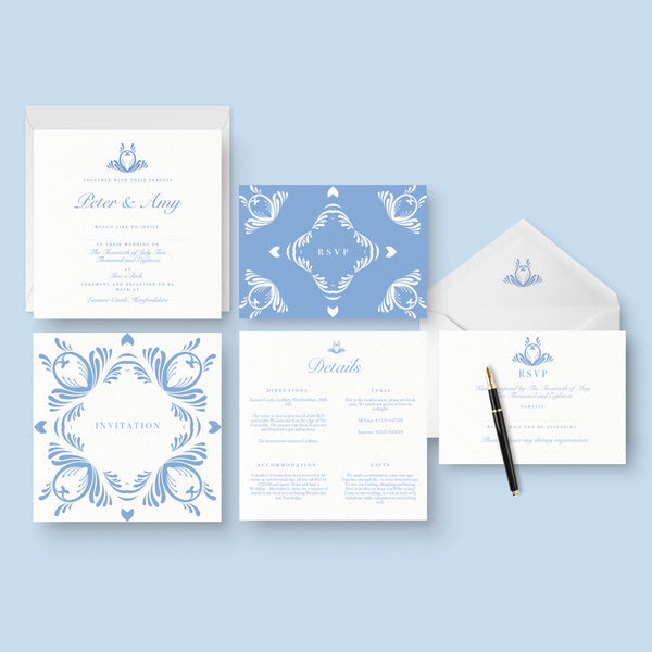 Blue and white elegant invitation suite with square card, rsvp card and information insert card with envelopes