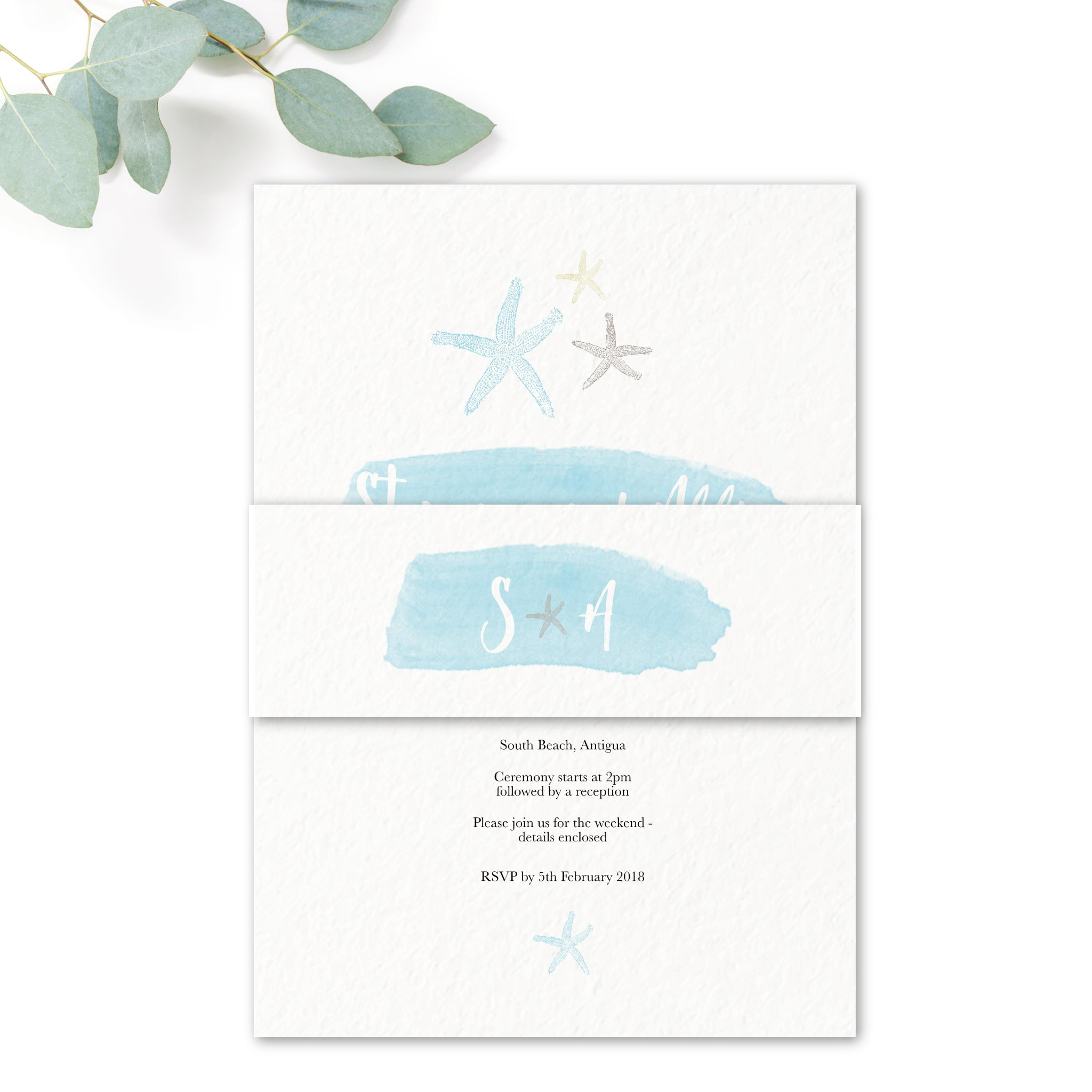 Estrella Pale Blue Beach Wedding Invitation Belly Band