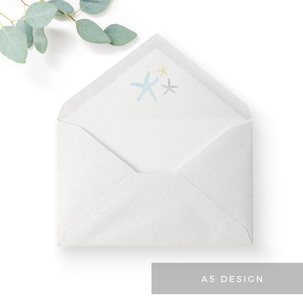 Estrella Pale Blue Beach Wedding Envelope Liner A5