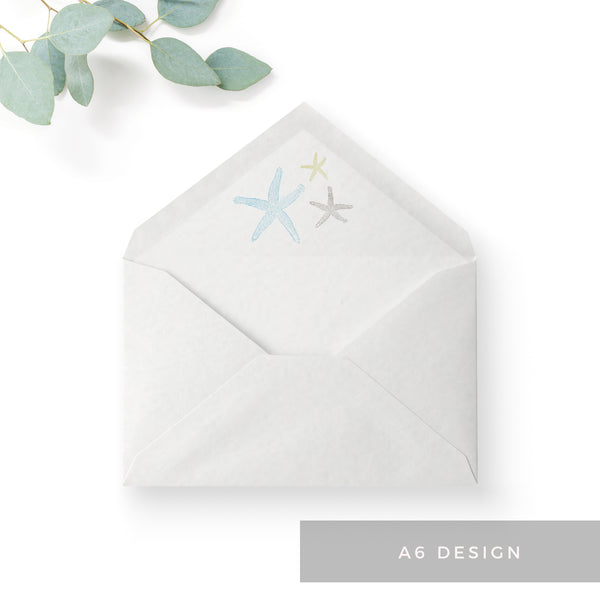 Estrella Pale Blue Beach Wedding Envelope Liner A6
