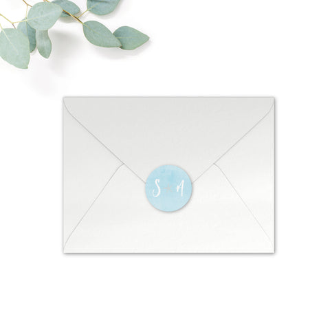 Estrella Personalised Round Wedding Seal Stickers for Envelopes