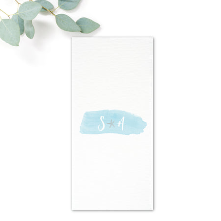 Estrella Beach Blue Wedding Menu Cards