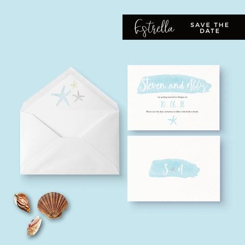 Estrella Pale Blue Beach Wedding Save the Date
