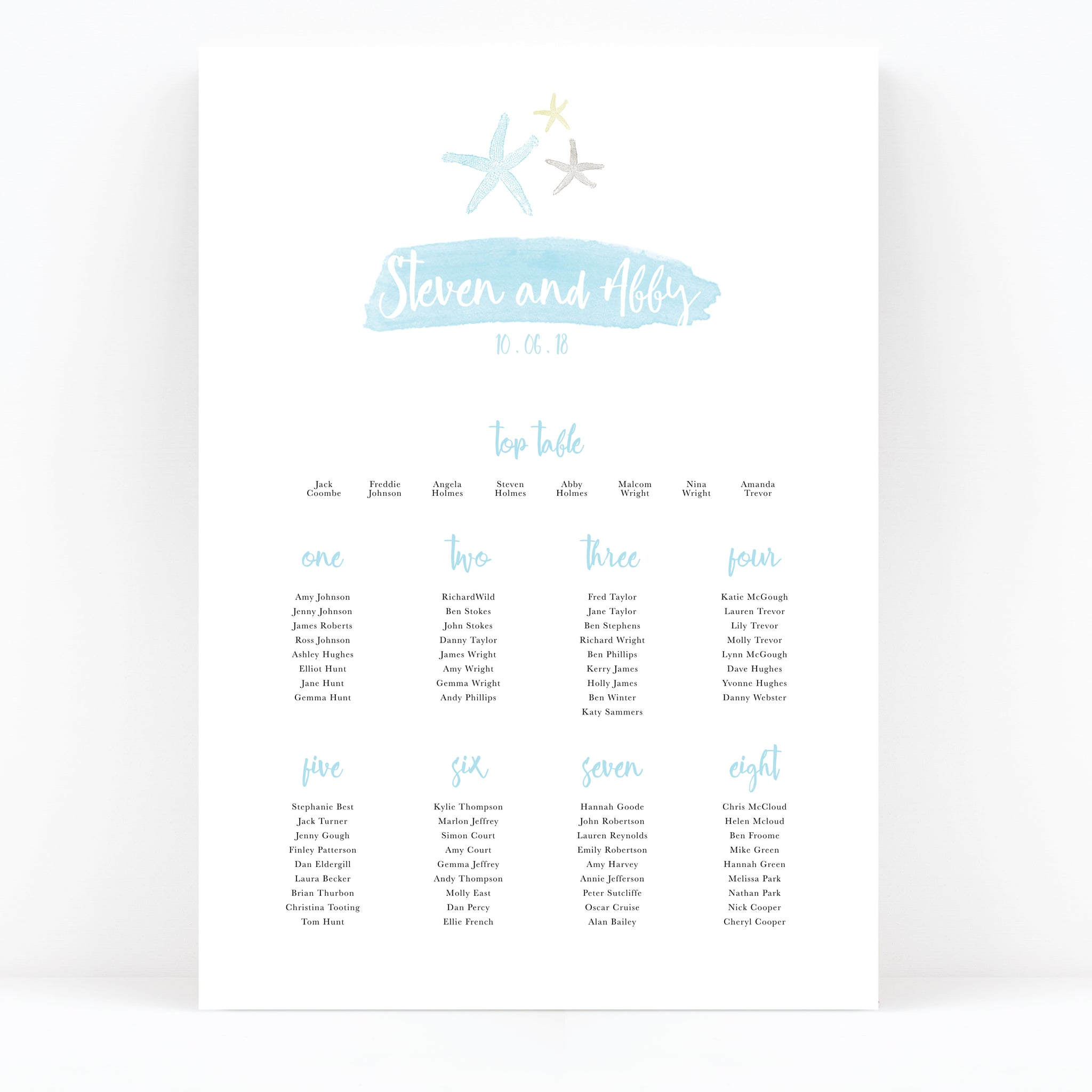 Estrella Wedding Table / Seating Plan