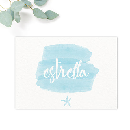 Estrella Beach Blue Wedding Table Names