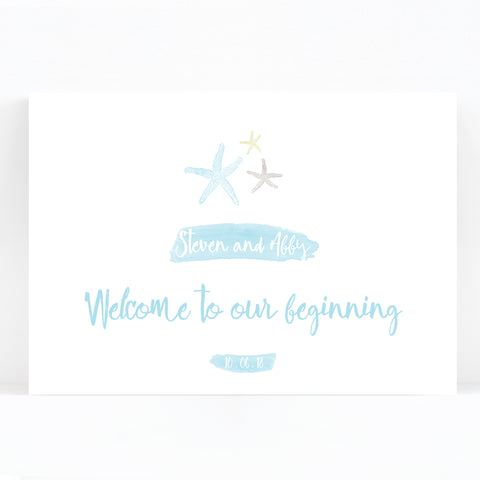 Estrella Beach Blue Wedding Welcome Sign