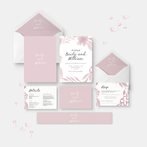 Dusty pink and white wedding invitation suite with details card and rsvp card
