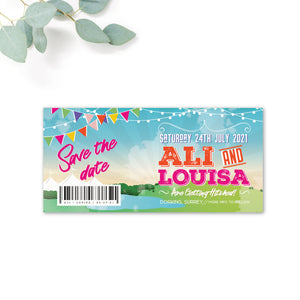 Festival Personalised Save the Date Ticket