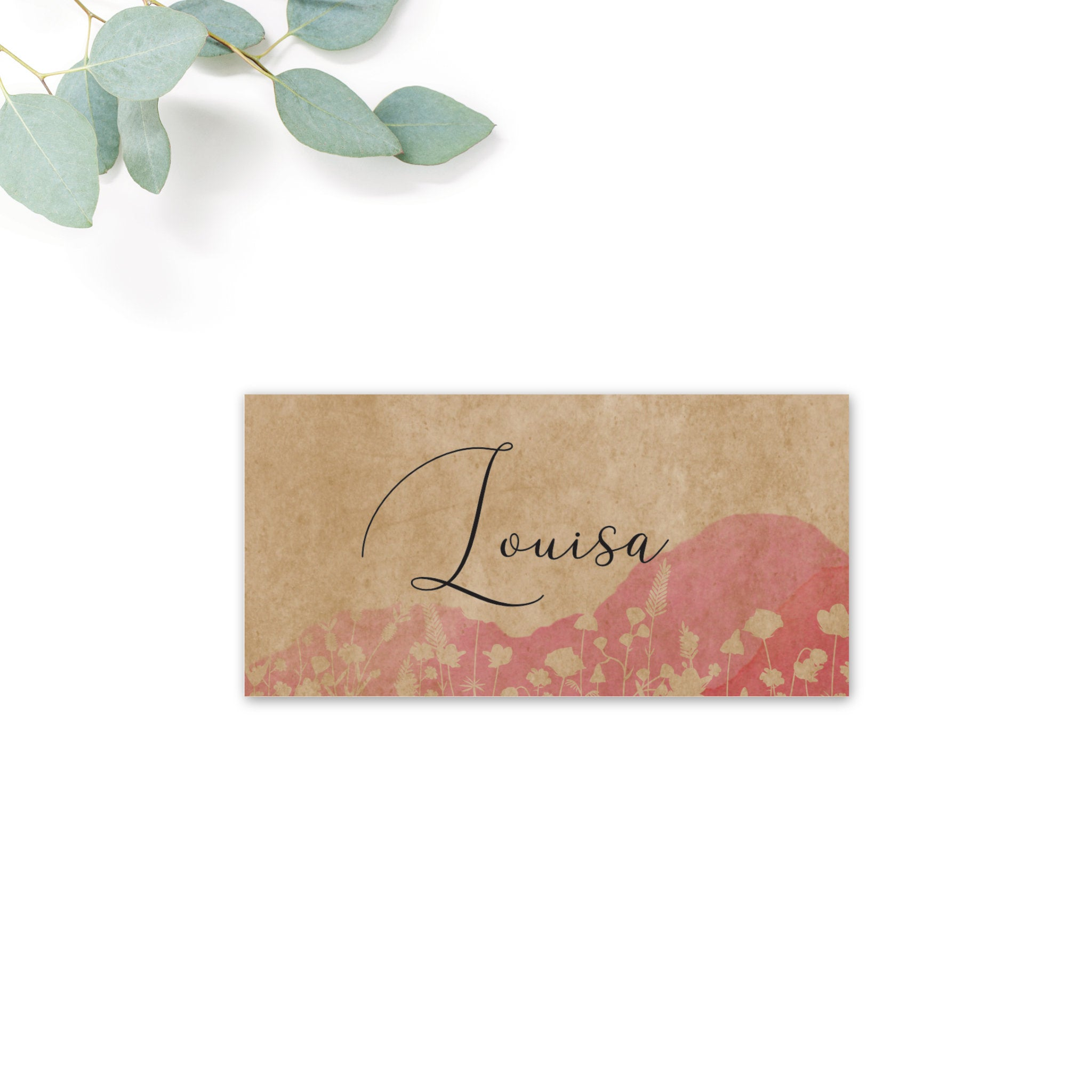 Festival Personalised Kraft Place Cards