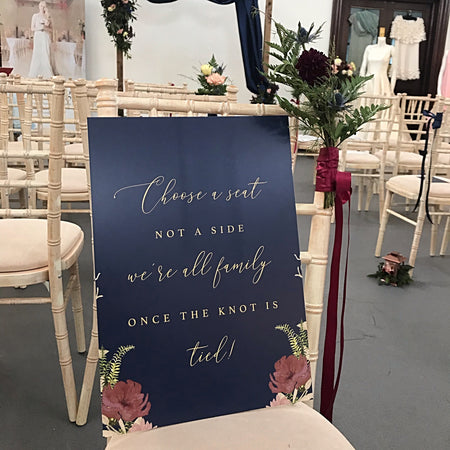 Fulham Navy Floral 'Choose a Seat' Sign