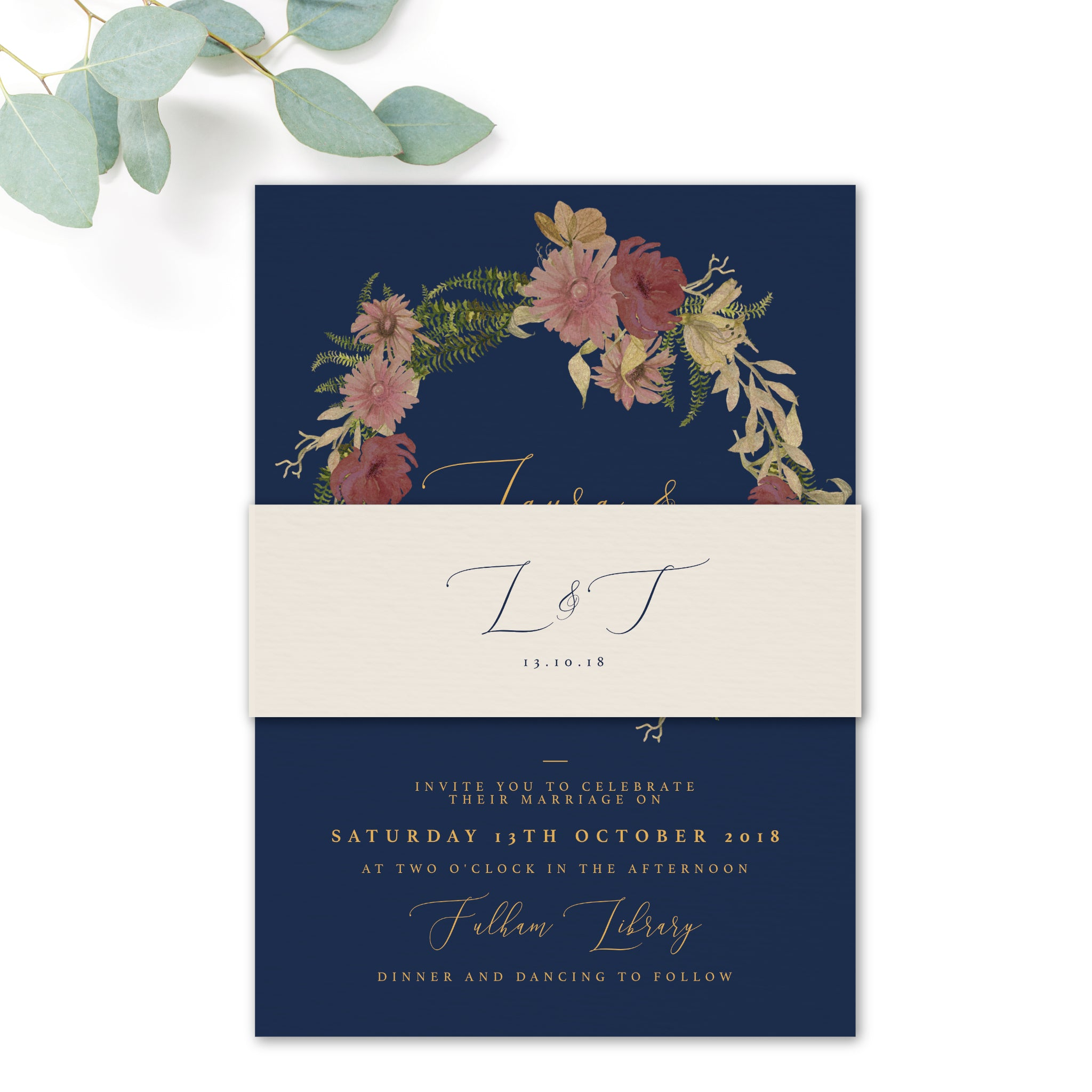Fulham Navy Floral Wreath Wedding Belly Band