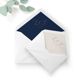 Fulham Navy Wedding Envelope Liners