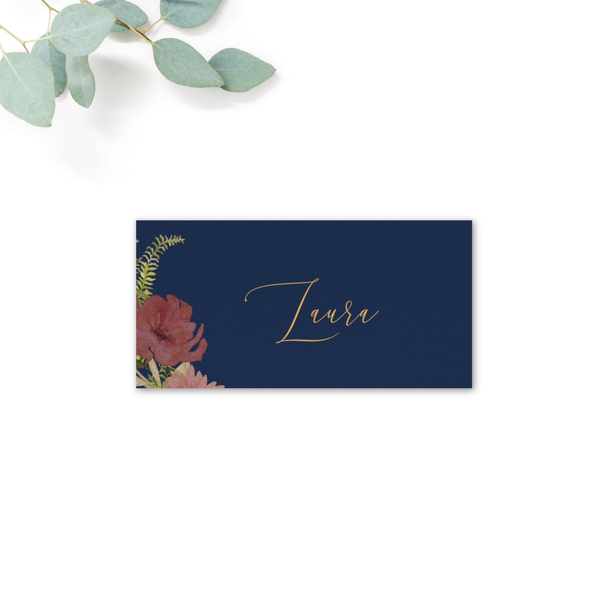 Fulham Navy Floral Wedding Folded Place Card