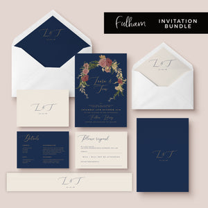 Fulham Navy Floral Wreath Wedding Invitation Bundle