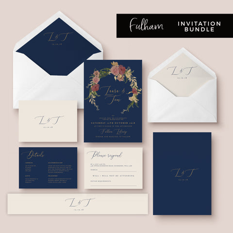 Fulham Navy Floral Personalised Wedding Invitations