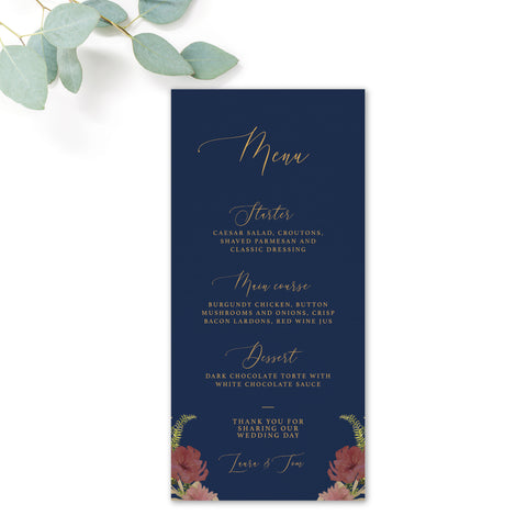 Fulham Navy Floral Wedding Menus