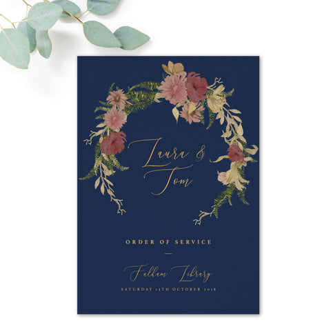 Fulham Navy Floral Wreath Wedding Order of Service Cover