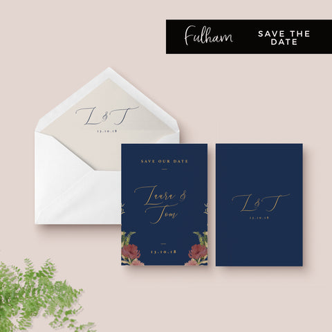 Fulham Navy Floral Wreath Wedding Save the Date Card