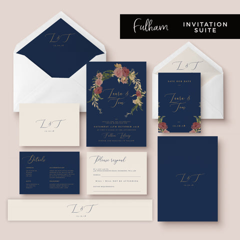 Fulham Navy Floral Wreath Wedding Invitation Suite