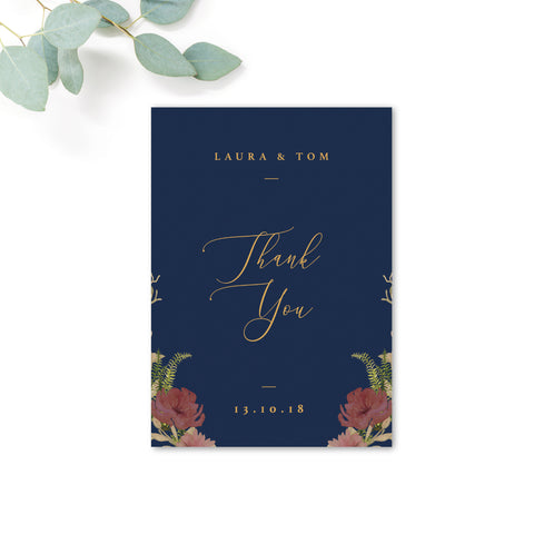 Fulham Navy Floral Personalised Wedding Thank You Card