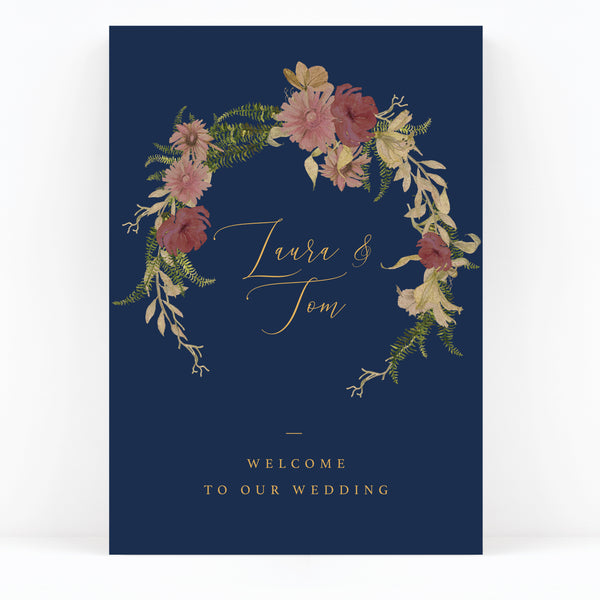 Fulham Navy Floral Wreath Wedding Welcome Sign