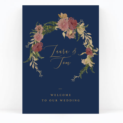 Fulham Navy Floral Wedding Welcome Sign
