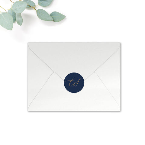 Fulham Personalised Round Wedding Seal Stickers for Envelopes