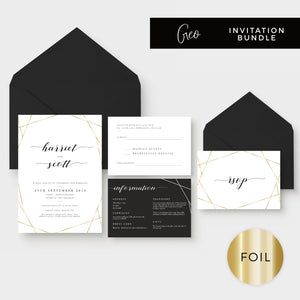 Geo Gold Foil Geometric White Wedding Invitation Suite with Black Envelopes