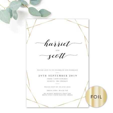 Geo Gold Foil Geometric White Wedding RSVP Card