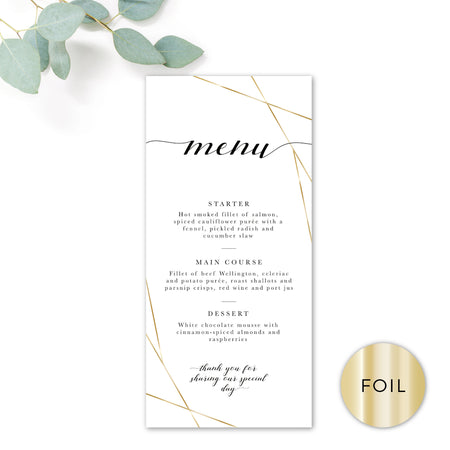 Geo Gold Foil Geometric White Wedding Menu Card