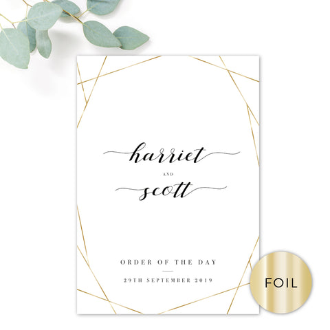 Geo Gold Foil Geometric White Wedding Order of the Day