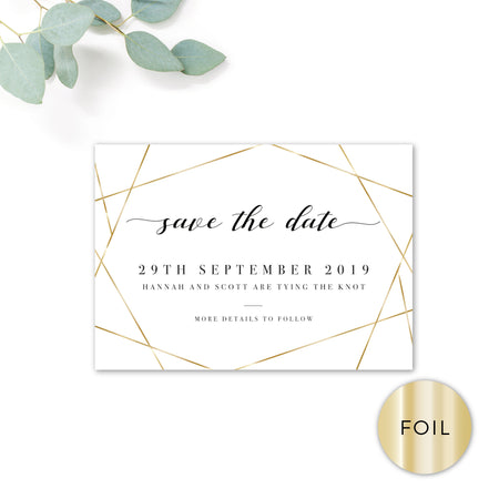 Geo Gold Foil Geometric White Wedding Save The Date