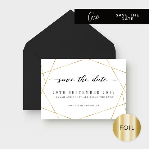 Geo Gold Foil Geometric White Wedding Save The Date with black envelope