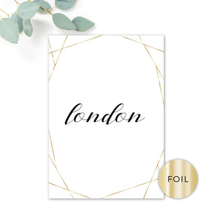Geo Gold Foil Geometric White Wedding Table Names