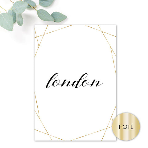 Geo Gold Foiled Wedding Table Names