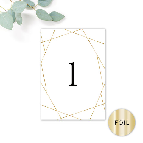 Geo Gold Foil Geometric White Wedding Table Number