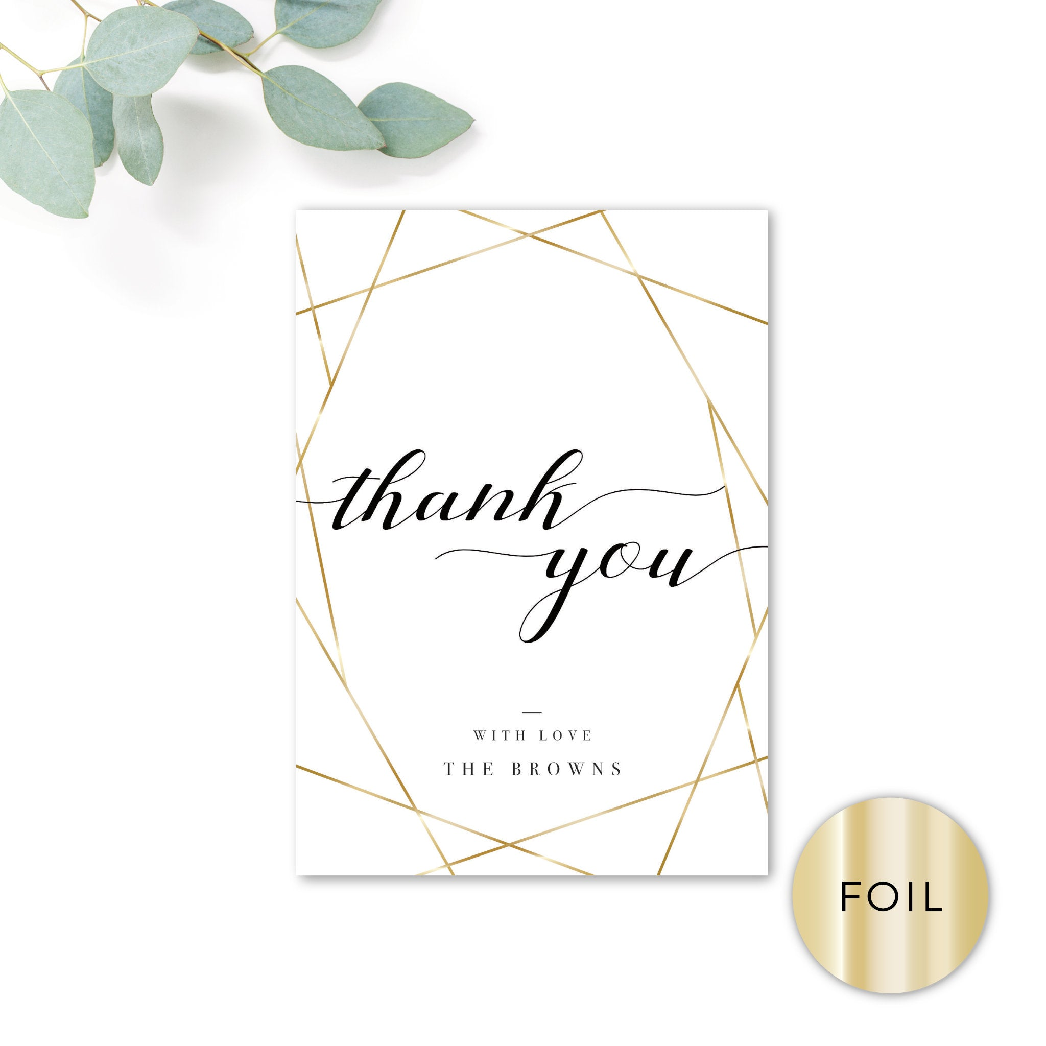 Geo Gold Foil Geometric White Wedding Personalised Thank You Card